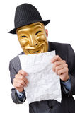 Espionage concept - masked man on white Royalty Free Stock Photos