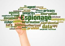 Espionage word cloud and hand with marker concept. On white background vector illustration