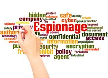Espionage word cloud hand writing concept vector illustration