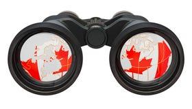 Espionaje en el concepto de Canadá, representación 3D stock de ilustración