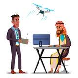 Espionnage international Homme d'affaires Launches d'afro-américain un bourdon de vol au-dessus d'homme d'affaires arabe Sitting  illustration libre de droits