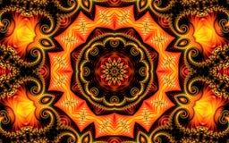 Espirais consistindo e ornamento do fractal do fundo abstrato bonito em um fundo alaranjado amarelo sob a forma de uma mandala ilustração royalty free