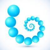 Espiral abstracto azul del vector de las bolas Fotos de archivo