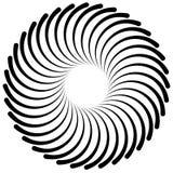 Espiral abstrata, elemento do redemoinho Irradiar, radial dobrou linhas Imagens de Stock