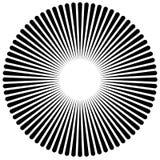Espiral abstrata, elemento do redemoinho Irradiar, radial dobrou linhas Imagem de Stock