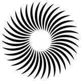 Espiral abstrata, elemento do redemoinho Irradiar, radial dobrou linhas Fotos de Stock