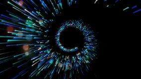 Espiral azul de incandescência abstrata, luzes das partículas Animação escura do fundo do wireframe 3d Linhas azuis brilhantes Ví ilustração do vetor