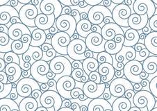 Espiral azul no fundo branco do vetor Teste padrão de repetição sem emenda de Teal Swirl do estilo oriental Imagens de Stock