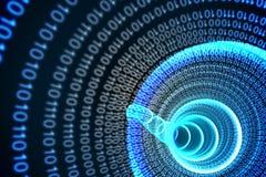 Espiral binária com fulgor azul Imagens de Stock