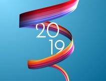 espiral colorida da fita do curso da escova de pintura 3d Fundo do vetor ilustração do vetor
