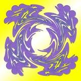 Espiral cuadrado púrpura en fondo amarillo Movimientos gruesos grandes El blanco brilla a través de las alas en centro Fotos de archivo libres de regalías