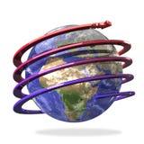 Espiral de la flecha alrededor de la tierra Foto de archivo libre de regalías