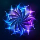Espiral de néon azul de brilho brilhante em cósmico escuro Fotos de Stock