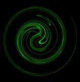 Espiral de roda verde no fundo preto Imagens de Stock Royalty Free