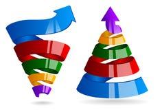 Espiral del crecimiento con la flecha Las ventas concentran para comercializar infographic libre illustration