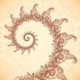 Espiral do fractal do vetor no estilo da tatuagem da hena Fotos de Stock Royalty Free