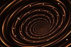 Espiral dourada de incandescência abstrata em um fundo preto ilustração stock