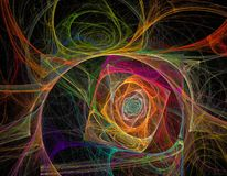 Espiral e torção coloridas arco-íris do caos do fractal Fotos de Stock