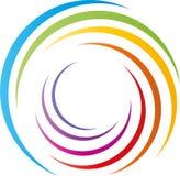 Espiral em cores do arco-íris, em pintor e em logotipo do jardim de infância ilustração royalty free