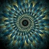 Espiral emplumado del pavo real Fotos de archivo libres de regalías