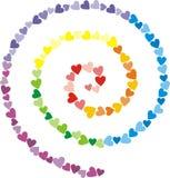 Espiral iridiscente del pequeño corazón multicolor Imágenes de archivo libres de regalías