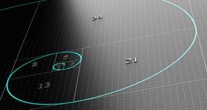 Espiral ou sequência de Fibonacci ilustração stock