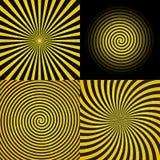 Espiral psicodélico hipnótico con los rayos radiales, modelo determinado del Grunge retro del vintage de la colección del fondo d Fotos de archivo libres de regalías