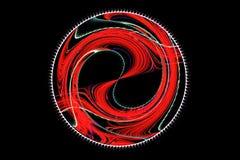 Espiral rojo brillante del fractal abstracto en un negro Fotografía de archivo libre de regalías