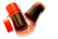 Espiral velha da listra do filme de 35 milímetros Imagens de Stock