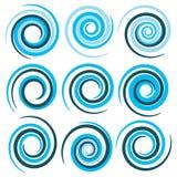 Espirales azules del vector Imagen de archivo libre de regalías