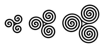 Espirales célticos negros del triskelion sobre blanco Fotos de archivo libres de regalías