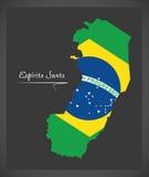 Espirito Santo map with Brazilian national flag illustration Stock Photos