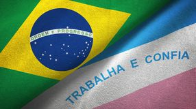 Espirito Santo state and Brazil flags textile cloth, fabric texture. Espirito Santo state and Brazil folded flags together stock illustration