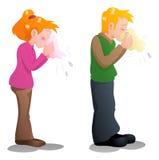 Espirrando a mulher e o homem Imagens de Stock