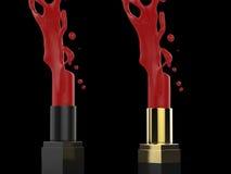 Espirrando o batom vermelho Fotografia de Stock Royalty Free