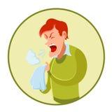 Espirrando o homem e um lenço Fotos de Stock Royalty Free