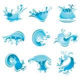 Espirrando ondas e água,   ilustração stock