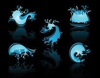 Espirrando a reflexão das ondas e do Waterwith ilustração stock