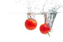 Espirrando tomates Fotografia de Stock Royalty Free