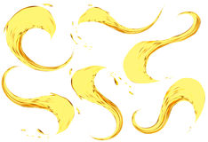 Espirro do óleo isolado no fundo branco Grupo da ilustração do vetor 3d Líquido amarelo realístico com gotas Imagem de Stock Royalty Free