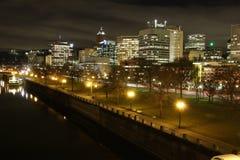 Esplanada de Portland na noite Fotos de Stock Royalty Free