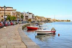Esplanade à côté de la baie dans la ville de Zakynthos, Grece photos libres de droits