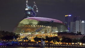 Esplanade στη νύχτα της Σιγκαπούρης Στοκ Φωτογραφίες