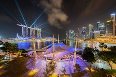 Esplanade υπαίθριο θέατρο στη στο κέντρο της πόλης πόλη της Σιγκαπούρης Κόλπος μαρινών στοκ φωτογραφίες με δικαίωμα ελεύθερης χρήσης