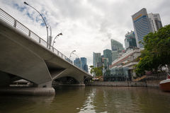 Esplanade Bridge and Central District in Singapore Royalty Free Stock Photography