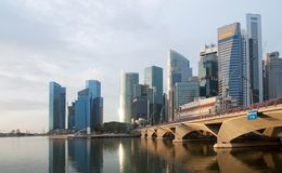 Esplanade Bridge and Financial District Stock Image