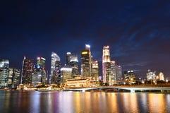 Esplanade Bridge and Singapore Skyline Stock Image