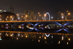Esplanade bridge, theater and Singapore Flyer at night Stock Images