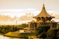 Esplanade de coucher du soleil de Kuching image stock