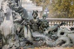 Esplanade des Quinconces, fontain van het Monument aux Girondins in Bordeaux royalty-vrije stock afbeelding